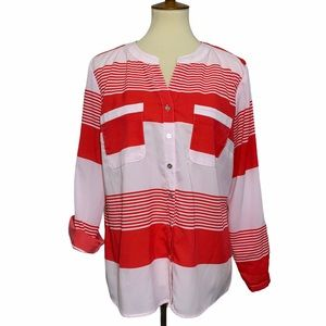 Notations Button Up Long Sleeve Blouse